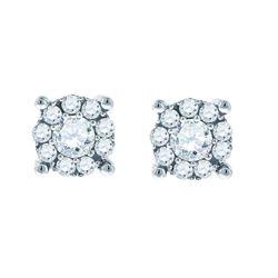 14kt White Gold Round Diamond Framed Solitaire Stud Earrings 1.00 Cttw