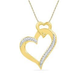 10kt Yellow Gold Round Diamond Heart Pendant 1/10 Cttw