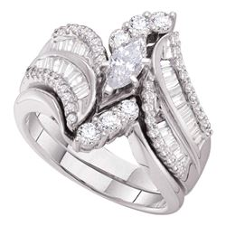 14kt White Gold Marquise Diamond Bridal Wedding Engagement Ring Band Set 1-1/2 Cttw