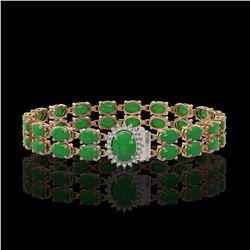 29.82 ctw Jade & Diamond Bracelet 14K Rose Gold