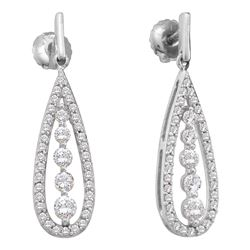 14kt White Gold Round Diamond Teardrop Dangle Screwback Earrings 3/4 Cttw