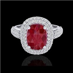 3.50 ctw Ruby & Micro Pave VS/SI Diamond Certified Ring 18K White Gold