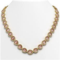 41.6 ctw Morganite & Diamond Micro Pave Halo Necklace 10K Yellow Gold