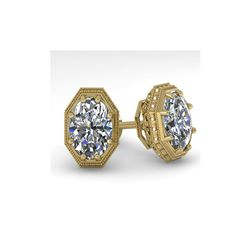 2 ctw VS/SI Oval Diamond Stud Earrings 18K Yellow Gold