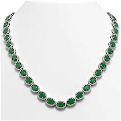 52.15 ctw Emerald & Diamond Micro Pave Halo Necklace 10K White Gold