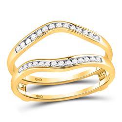 14kt Yellow Gold Round Diamond Channel Set Wrap Ring Guard Enhancer 1/4 Cttw
