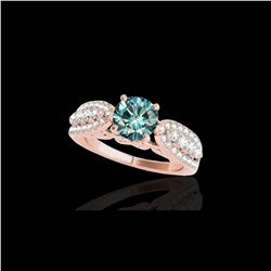 1.7 ctw SI Certified Fancy Blue Diamond Solitaire Ring 10K Rose Gold