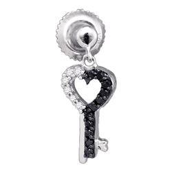 10kt White Gold Round Black Color Enhanced Diamond Key Heart Dangle Earrings 1/6 Cttw