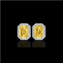 8.40 ctw Citrine & Micro Pave VS/SI Diamond Earrings 18K White Gold