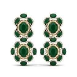 33.5 ctw Emerald & VS Diamond Earrings 18K Yellow Gold
