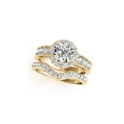 2.21 ctw Certified VS/SI Diamond 2pc Wedding Set Halo 14K Yellow Gold