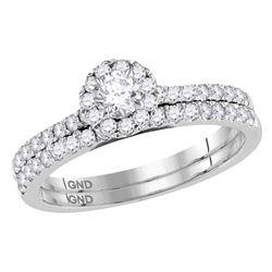 14kt White Gold Round Diamond Halo Slender Bridal Wedding Engagement Ring Band Set 3/4 Cttw