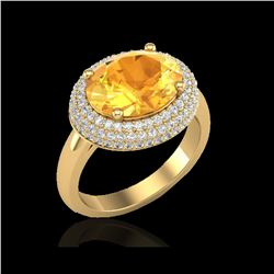 4 ctw Citrine & Micro Pave VS/SI Diamond Certified Ring 18K Yellow Gold