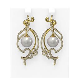 1.68 ctw Diamond and Pearl Earrings 18K Yellow Gold