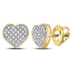 10kt Yellow Gold Round Diamond Heart Cluster Screwback Earrings 1/6 Cttw