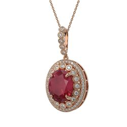 13.75 ctw Certified Ruby & Diamond Victorian Necklace 14K Rose Gold