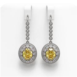 7.65 ctw Canary Citrine & Diamond Victorian Earrings 14K White Gold