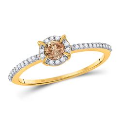 10kt Yellow Gold Round Brown Diamond Solitaire Bridal Wedding Engagement Ring 1/3 Cttw