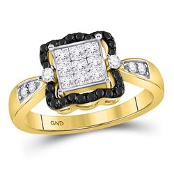 10kt Yellow Gold Round Black Color Enhanced Diamond Cluster Ring 3/4 Cttw