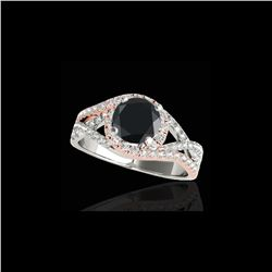 1.5 ctw Certified VS Black Diamond Solitaire Halo Ring 10K White & Rose Gold