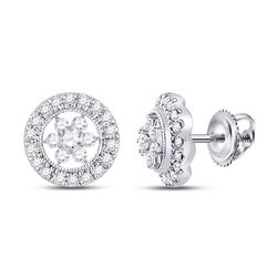 14kt White Gold Round Diamond Circle Floral Cluster Earrings 3/8 Cttw