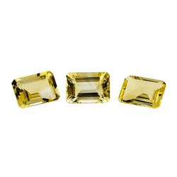 19.69 ctw.Natural Emerald Cut Citrine Quartz Parcel of Three