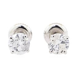 1.40 ctw Diamond Earrings - 14KT White Gold