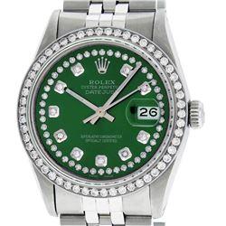 Rolex Mens Stainless Steel Green String Diamond 36MM Datejust Wristwatch