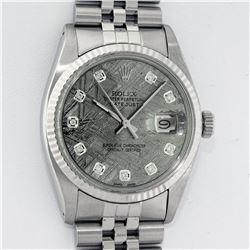 Rolex Mens Stainless Steel Meteorite Diamond 36MM Datejust Wristwatch With Rolex