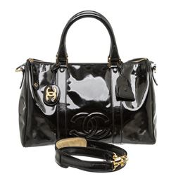 Chanel Black Patent Leather Vintage CC Small Duffel Bag