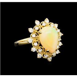 2.76 ctw Opal and Diamond Ring - 14KT Yellow Gold