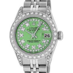 Rolex Ladies Stainless Steel 26MM Green String Diamond Lugs Datejust Wristwatch
