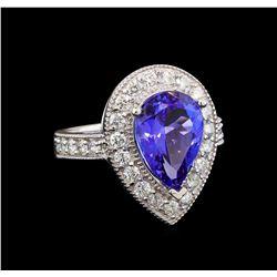 14KT White Gold 4.26 ctw Tanzanite and Diamond Ring