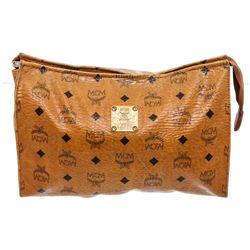 MCM Cognac Visetos Coated Canvas Pouch Bag