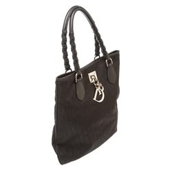 Christian Dior Black Canvas Lovely Oblique Tote Handbag