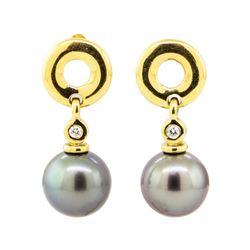 0.08 ctw Diamond and Black Tahitian Pearl Earrings - 18KT Yellow Gold