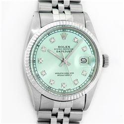 Rolex Mens Stainless Steel Ice Blue Diamond Datejust Wristwatch With Rolex Box
