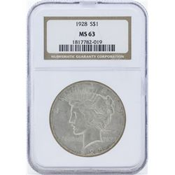 1928 $1 Peace Silver Dollar Coin NGC MS63