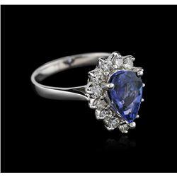 14KT White Gold 1.66 ctw Tanzanite and Diamond Ring
