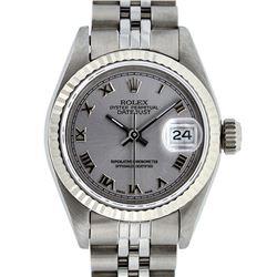 Rolex Ladies Stainless Steel Slate Grey Roman 26MM Datejust Wristwatch