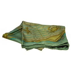 Hermes Green Silk Astrology Calendar Scarf