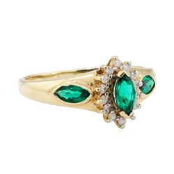 1.15 ctw Lab Created Emerald and Diamond Ring - 14KT Yellow Gold