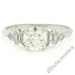 Antique Art Deco Platinum 1.50 ctw GIA Certified European Diamond Engagement Rin