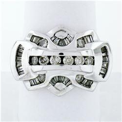 Statement Men's 14K White Gold 1.35 ctw Round & Baguette Diamond Ring