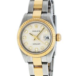 Rolex Ladies Quickset 2 Tone 18K Cream Diamond Datejust Oyster Band Wristwatch W