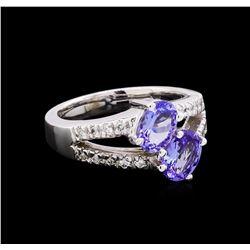 1.70 ctw Tanzanite and Diamond Ring - 14KT White Gold
