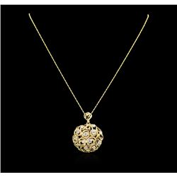 14KT Yellow Gold 1.85 ctw Diamond Pendant With Chain