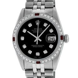 Rolex Mens Stainless Steel Black Diamond & Ruby Datejust Wristwatch