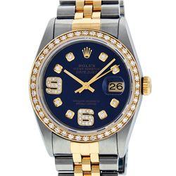 Rolex Mens 2 Tone 14K Blue Diamond 36MM Datejust Wristwatch
