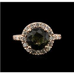 3.20 ctw Tourmaline and Diamond Ring - 14KT Rose Gold